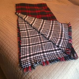 Express Houndstooth & Plaid Blanket Scarf